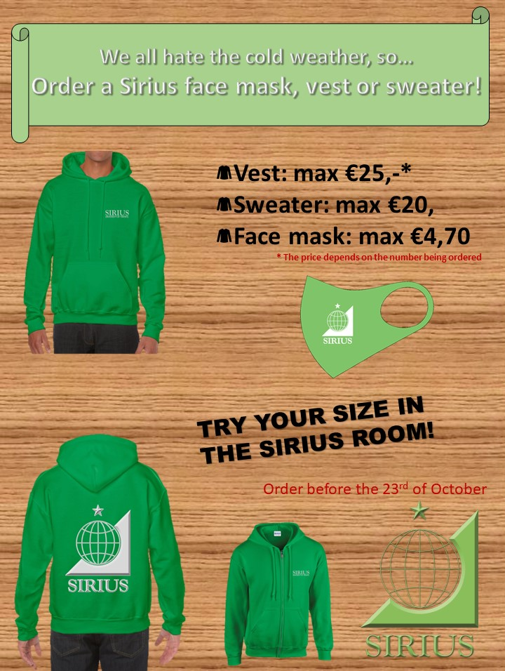Sirius Merchandise: Face Mask, Vest and Sweater!